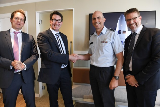 Airbus Australia Pacific Board Chairman, Matthieu Louvot; Airbus Australia Pacific Managing Director Andrew Mathewson; New Zealand Chief of Air Force, Air Vice Marshal Andrew Clark and Airbus Senior Program Manager New Zealand Operations, Geoff Blake. Credit: Airbus