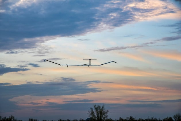 Airbus' Zephyr is an example of a High Altitude Pseudo-Satellite (HAPS) UAS/UAV.  This unmanned aircraft runs on solar power and provides local satellite-like services. (Credit: Airbus)