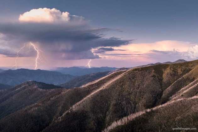 Alpine National Park. Alpine Peak Storm – Summer rain and lightning approach Mt Feathertop after sunset. This is a composite of two sequential shots, combining two lightning strikes. The lightning was infrequent, so I used the intervalometer mode of 10s shooting and 1s gap. Nikon D600, 16-35 mm f/4 at 32 mm, 10.0 sec at f/5.6, ISO 100, tripod