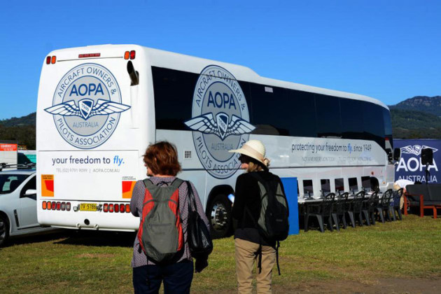 AOPA Australia had their coach and simulators in the exhibition area. (Steve Hitchen)