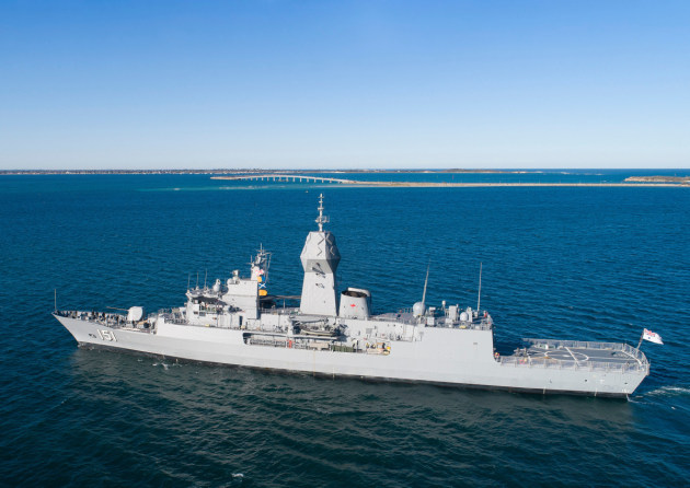 HMAS Arunta departs Fleet Base West and sails into Cockburn Sound.