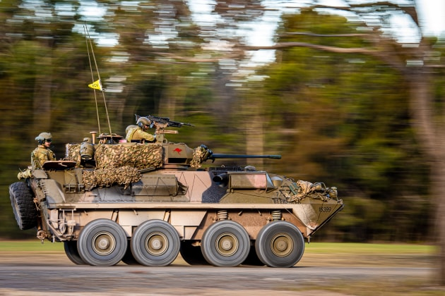 An Australian Light Armoured Vehicle is seen driving to the Wide Bay Training Area, Queensland.