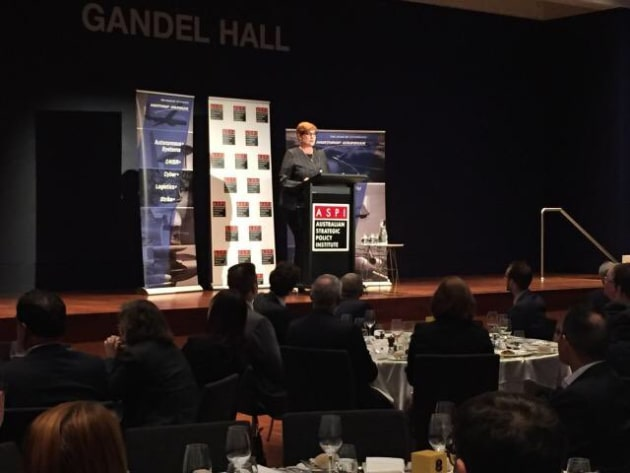 Minister for Defence Marise Payne speaking at ASPI's Building Australia's Strategy for Space conference. Credit: ASPI