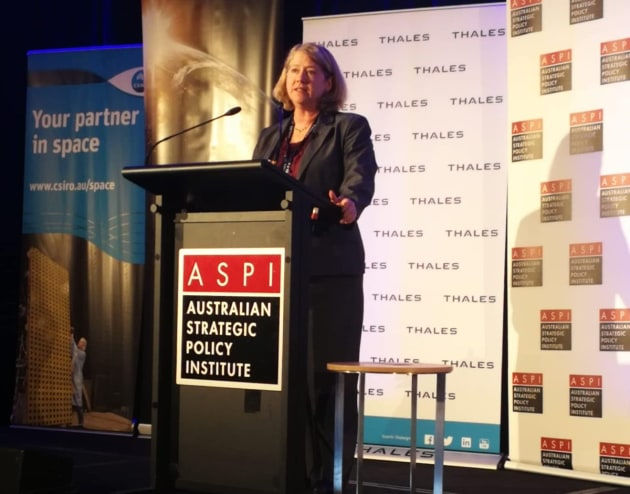 Col (retd) Pam Melroy, a former space shuttle commander, speaking at ASPI's conference. Credit: ASPI