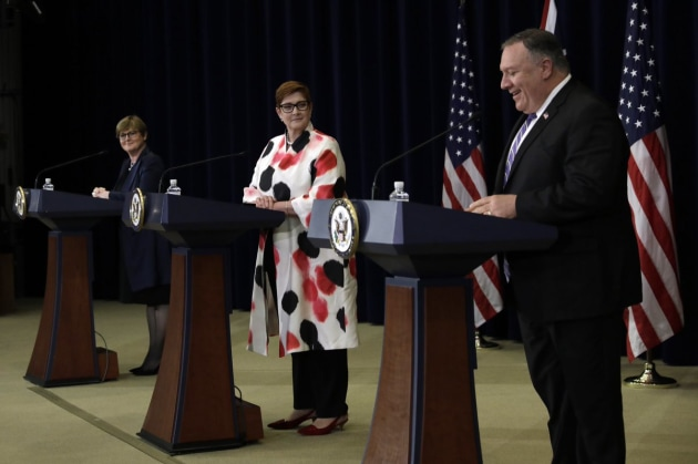 Minister for Defence Linda Reynolds, Minister for Foreign Affairs Marise Payne and US Secretary of State Mike Pompeo.
