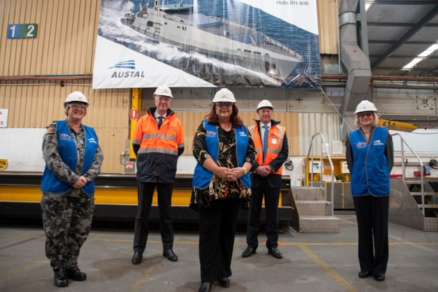 Minister for Defence Industry Mellissa Price at the Austal yards in WA.