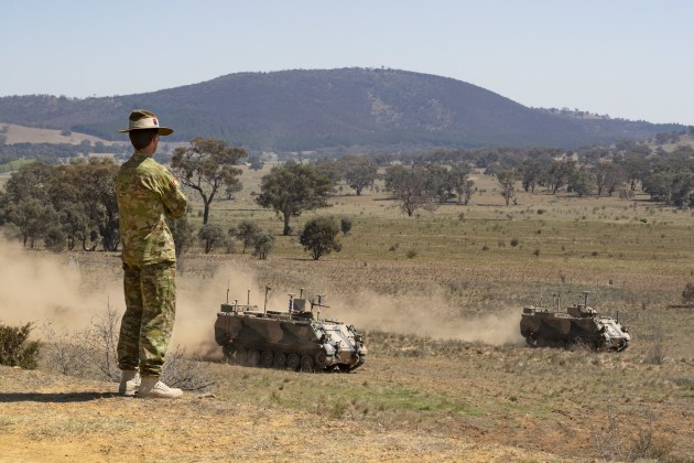 The autonomous M113s were demonstrated at Majura.