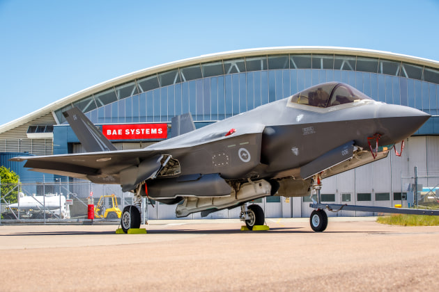 An F-35 in front of BAE Systems Australia's depot in Williamstown.