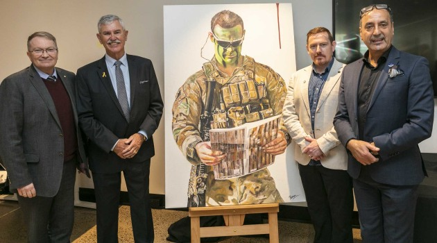Serco Defence Managing Director Clint Thomas; Doug Baird, father of CPL Cameron Baird VC MG; Michael Madden, author of The Victoria Cross: Australia Remembers; George Petrou, the artist.