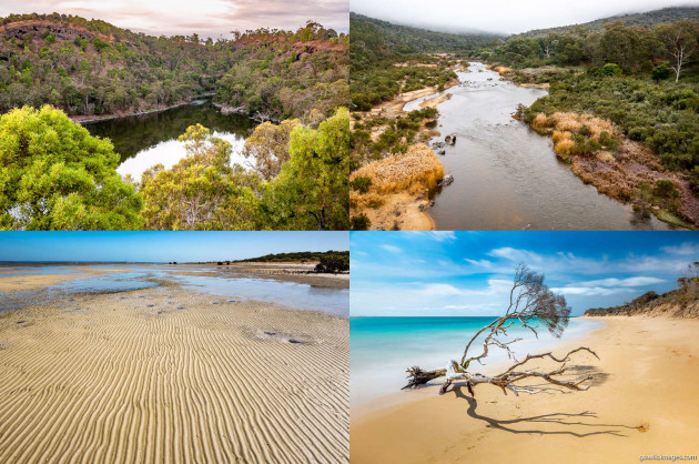 Clockwise from top-left: Budj Bim NP, Snowy River NP, Point Nepean NP, French Island NP