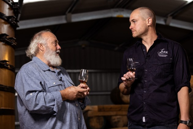 Tasmania's Lark Distilling Co has been recognised as Australia's first carbon neutral distillery, with its operations having no net negative impact on the climate. (Founder Bill Lark and managing director Geoff Bainbridge.)
