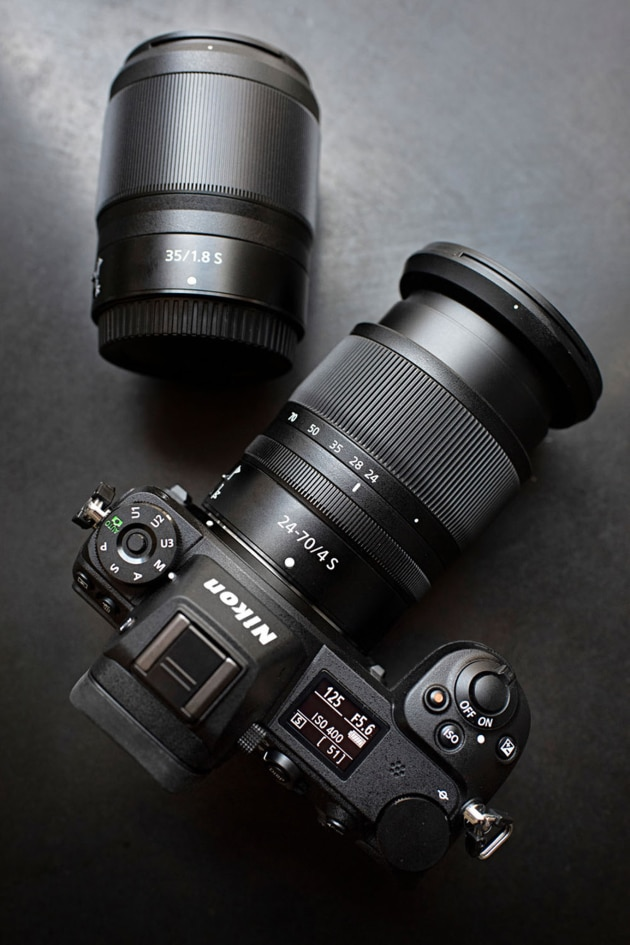 The new Nikon Z7 along with two Nikkor Z lenses, the 24-70mm f4 kit lens and the 35mm f1.8.
