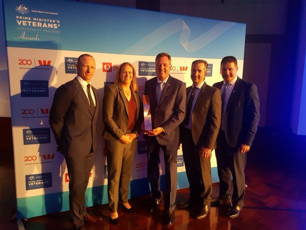 Boeing Australia won the Prime's award. 20% of the company's Australian workforce are military veterans. Credit: Boeing via Twitter