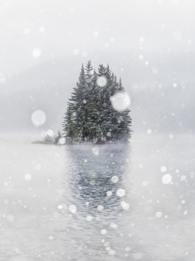 There was heavy fog on this morning at Two Jack Lake in the Canadian Rockies. I tried several techniques to capture the feeling of snow, but finally landed on shooting with a very shallow depth of field and using my flash to light up the out-of-focus snow in front of my camera, creating the snow globe effect. Nikon D810, Nikon 24-70mm f/2.8 lens @ 50mm. 1/4s @ f2.8, ISO 500.