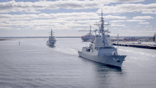 HMAS Brisbane and Hobart during CEC testing. Credit: AUSAWD