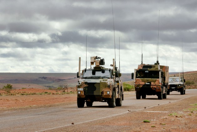 A Bushmaster, a famous Australian export story, during testing at Woomera. 