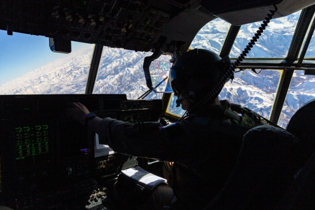 A RAAF C-130J over Afghanistan.