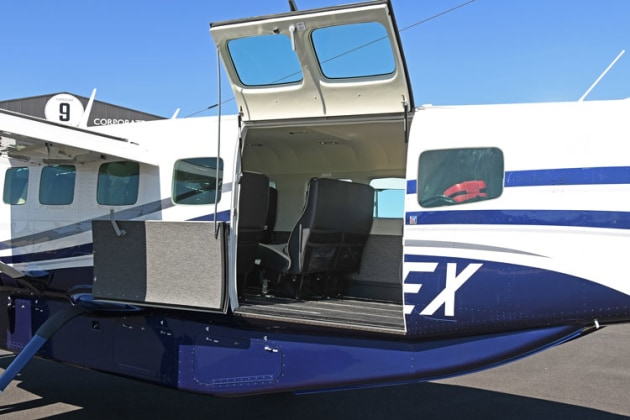 The spilt rear cargo door gives excellent access for freight and once removes, excellent egress for skydivers. (Steve Hitchen)