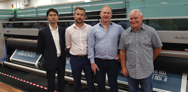 (l-r) Fujifilm Australia CEO Takeshi Tyler Yanase; Fujifilm Australia national sales manager Ashley Playford; SGIAA president Nigel Davies, and Cactus founder Keith Ferrel