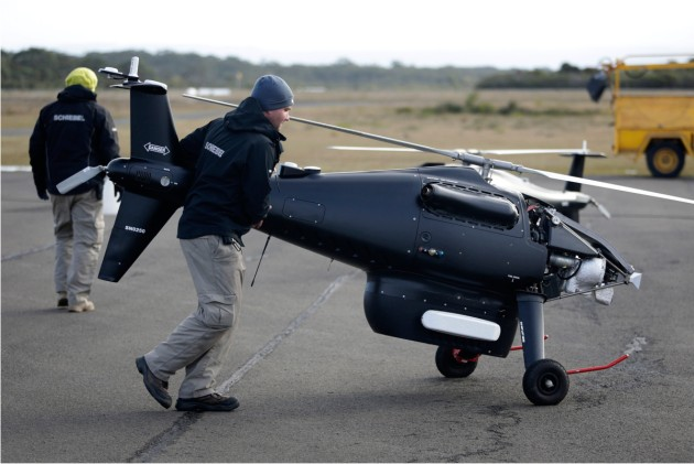 Ground crew prepare the Schiebel S-100 Camcopter UAS for flight at Jervis Bay.