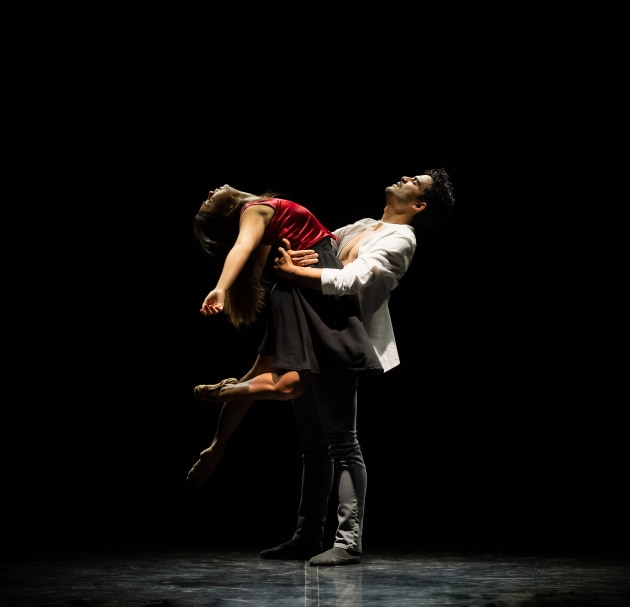Candice Adea and Julio Blanes in Fallen,choreographed by Sandy Delasalles,part of 'Heartache'. Photo: Bradbury Photography.