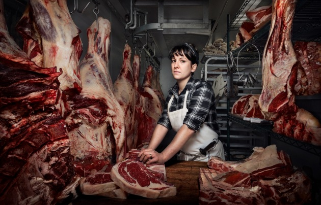 © Chris Crisman. Heather Marold Thomason, Butcher and Owner of Primal Supply Meats, Philadelphia, on 29 February 2016.