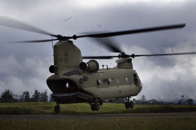 An Australian Army CH-47F Chinook helicopter lifts from Mount Hagen Airport during Operation PNG Assist 2018.