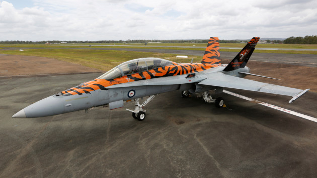 A newly painted F/A-18B Classic Hornet aircraft from No.2 Operational Conversion Unit.