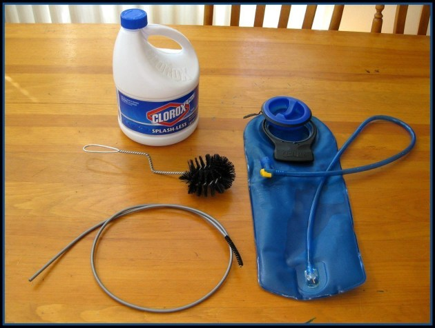 Basic water bladder cleaning supplies.