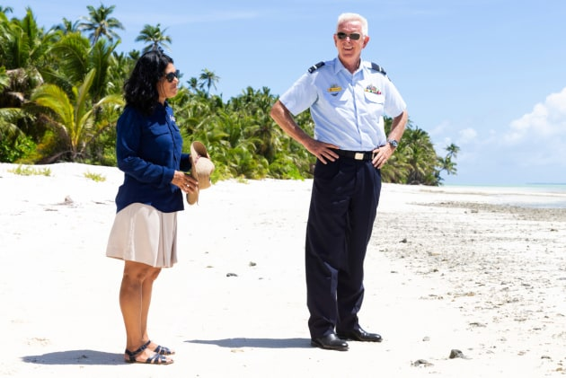 CEO of the Cocos-Keeling Islands Shire Andrea Selvery gives Commander Joint Task Force 661 Air Commodore Richard Owen a tour of the islands.