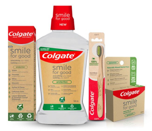 The Smile for Good range includes toothpaste in two variants, mouthwash, dental floss and the Colgate Bamboo Charcoal toothbrush.