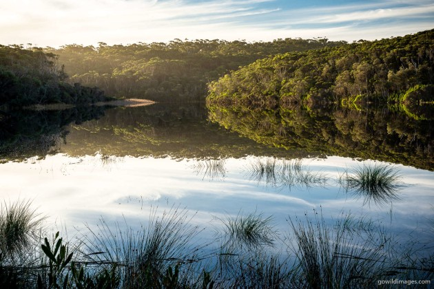 Croajingolong NP Nature's Mirror – Thurra River mouth in late afternoon light. A simple shot, using the natural look of the 50mm prime. No need for any fancy techniques with light like this! Nikon D600, 50 mm f/1.4, 1/10 sec at f/16, ISO 100, tripod