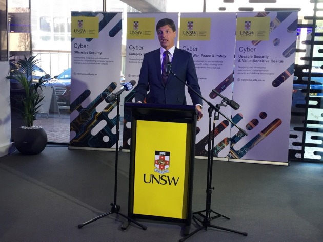 MP for Cyber Security Angus Taylor opening the new UNSW Cyber HQ in Canberra. Angus Taylor via Twitter