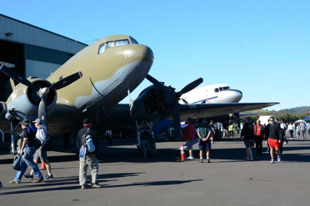 HARS had three DC3s on display, which later proved to be excellent shade for the crowd. (Steve Hitchen)