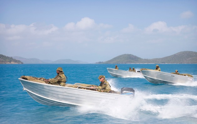 Members of 51st Battalion, Far North Queensland Regiment conduct a patrol and surveillance exercise off Thursday Island in the Torres Strait.