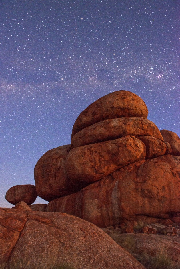 Devil's Marbles at night, NT. Rather than composing all of the Devil's Marbles, I chose to pick out one section and zoom in. This image was taken at night, using a sturdy tripod and cable release, to minimise any movement. Nikon D800, 24-70mm f/2.8 lens @ 24mm. 30s @ f7.1, ISO 2500.