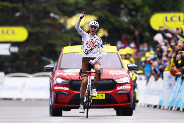 West Australian Ben O'Connor crossed the solo to win Stage 9, one of the toughest stages of the 2021 Tour de France. Image: AG2R Citroen.