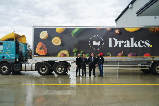 Drakes Supermarkets management team at the opening of its $125 million distribution centre. (L-R: director JP Drake, MD Roger Drake, GM Bob Soang, logistics manager Glenn Sutcliffe)
