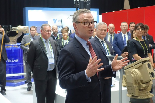 Minister Pyne speaking at the show. Credit: Nigel Pittaway