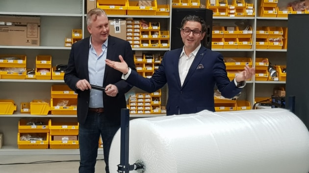 Innovation: Matt Ashman (left) and Christof Gamper welcome printers to the opening of Durst Ocenia