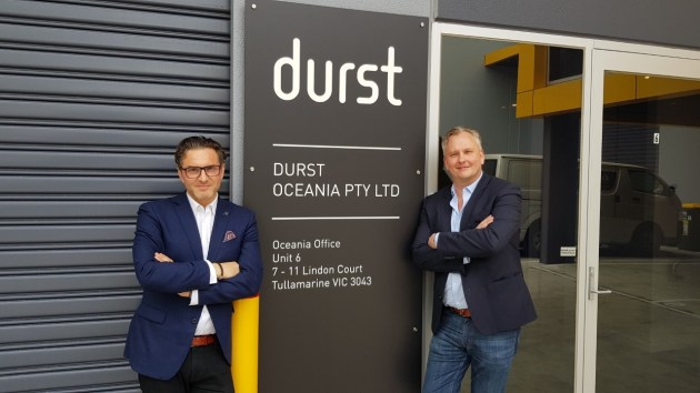 Open for business: Christof Gamper (left) and Matt Ashman, Durst Oceania