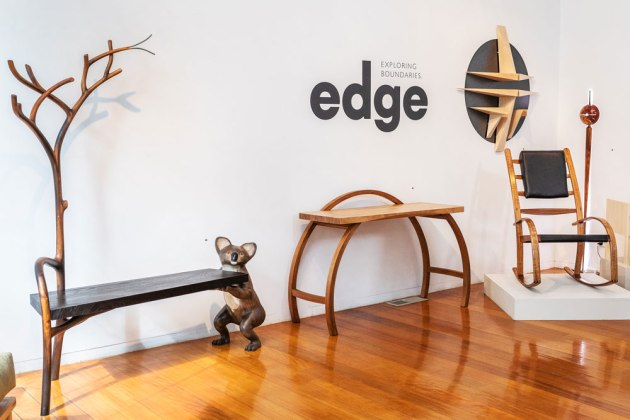 From left to right: Alby Johnston's Black Forest; Chris Neal's Hamilton Console; David Mac Laren's wall mounted sculptural shelves; Phoebe Everill's Drummond Rocking Chair. Photo: Julijana Griffiths