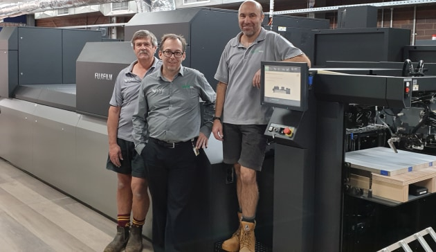 First in Australia: With the new Fujifilm JetPress 750S at Ellipsis Media are (l-r) David Martin, Rob Keanalley, and David Fritz.