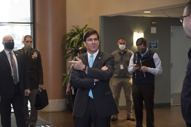 US Secretary of Defense Mark Esper is greeted by staff members of the Federal Emergency Management Agency.