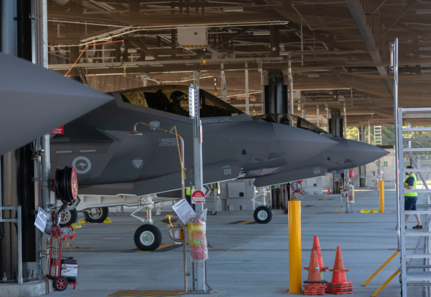 F-35s in the hangers at RAAF Williamtown.