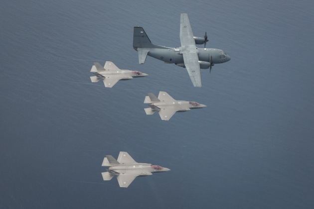 F-35 Lightning II aircraft from RAAF Base Williamtown fly in formation off the coast of Newcastle.