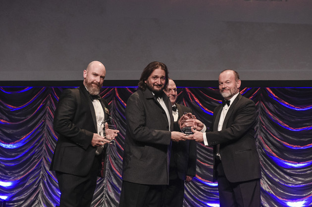 Form Cut CEO Karl Falzon accepting the award from Defence SA's CEO Richard Price.