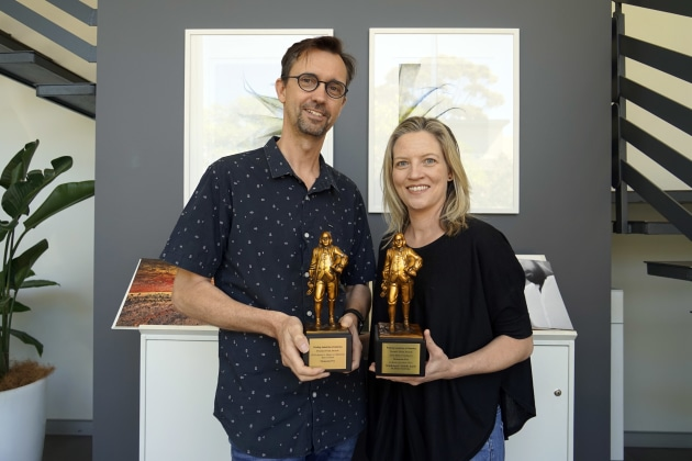 Best in the world: Geoff Hunt and Libby Jeffrey with the Bennys
