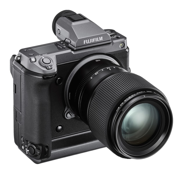The Fujifilm GFX 100 features all the modern conveniences you might expect in a current generation mirrorless camera, like a flip-out LCD and top LCD panel. You can also remove the viewfinder – perfect if you want to hard-mount a flash to the camera and need to free up some space.