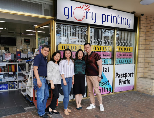 Family business: Pictured at Glory Printing shopfront are (l-r)